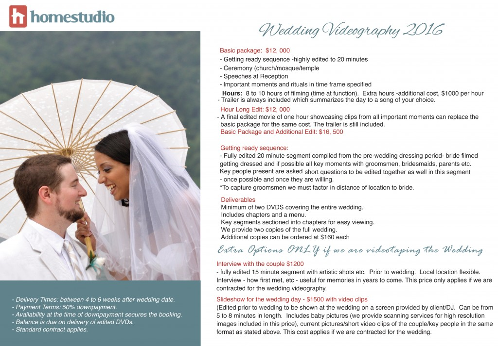 Homestudio New Videography Package 2016